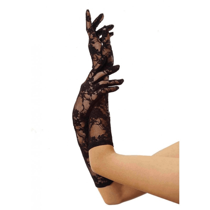 Black Elbow Length Stretch Lace Gloves