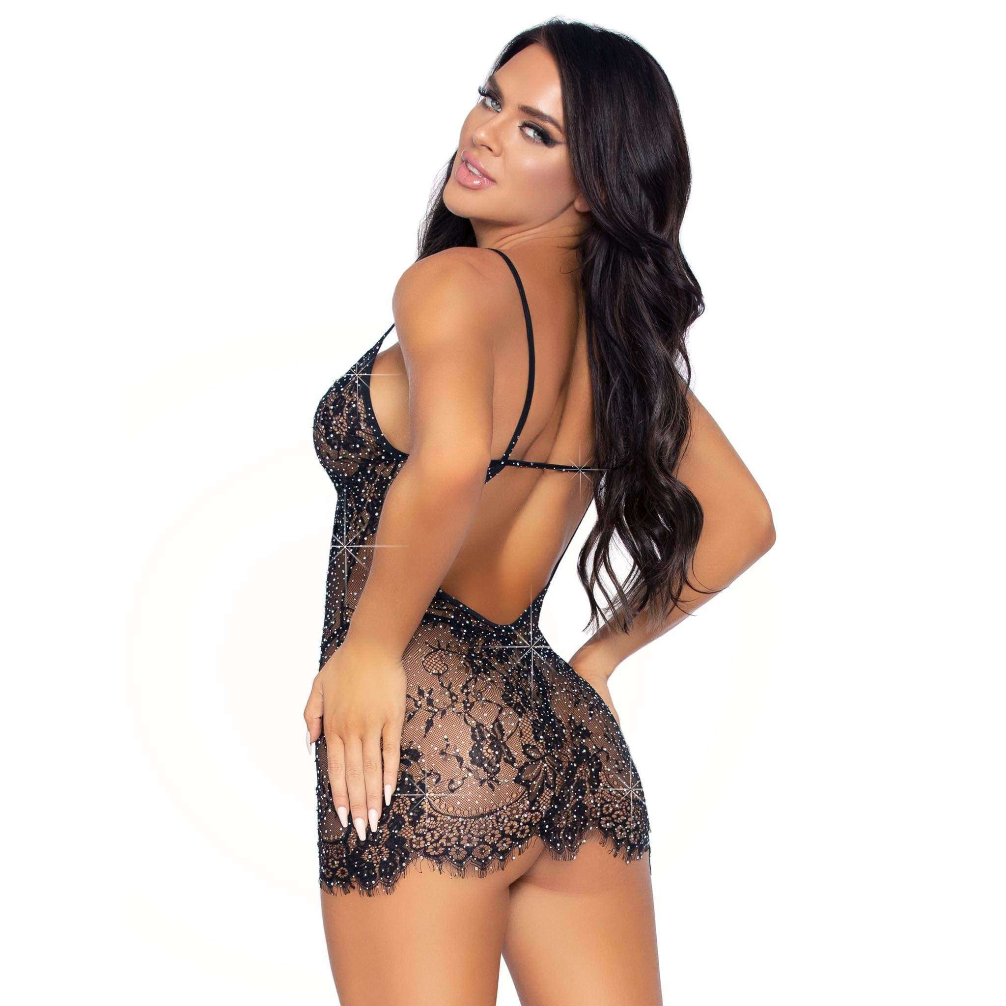 Eyelash Lace Rhinestone Backless mini Dress w/ Matching G-String