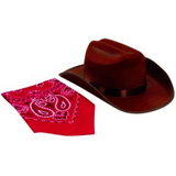 Brown Jr. Cowboy Hat with Red Bandana
