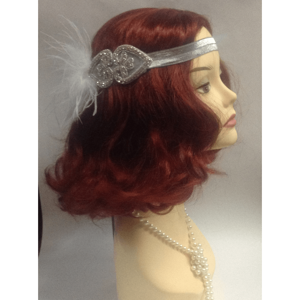 White on Silver 1920's Heart Headwrap