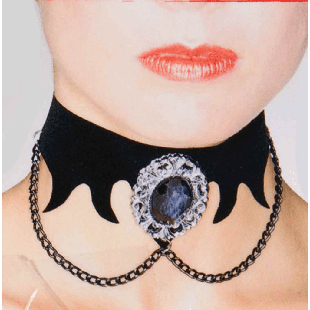 Black Vampire Choker with Red Stone