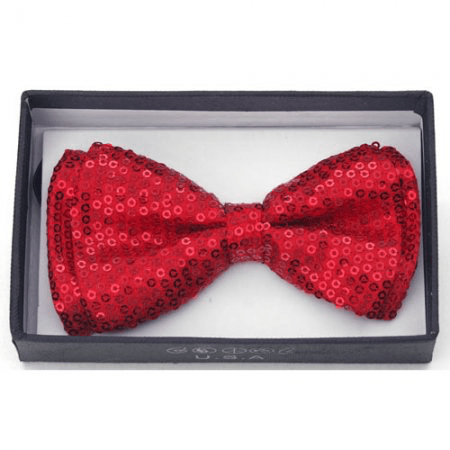 Kids Red Sequin Bow Tie