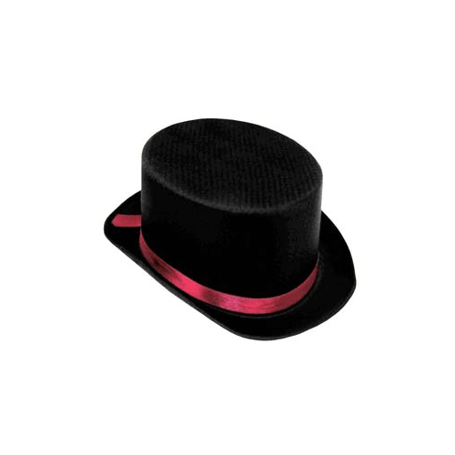 Black Satin Top Hat with Red Trim