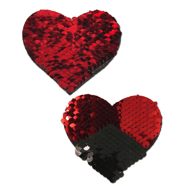Red and Black Color Changing Sequin Heart Pasties