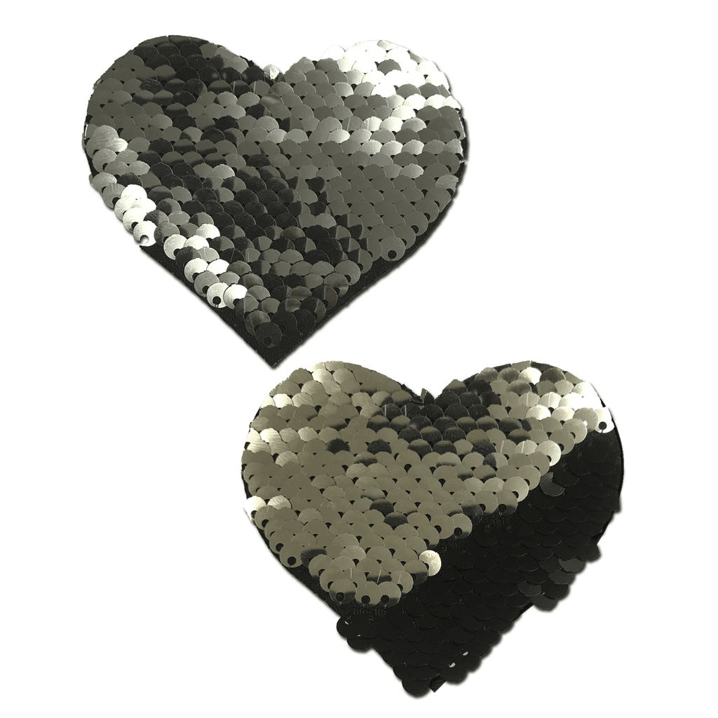 Silver and Black Color Changing Sequin Heart Pasties