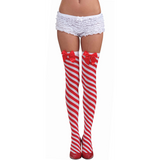 Candy Cane Striped Thigh Highs
