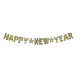 Black and Gold Glittered Happy New Year Streamer^