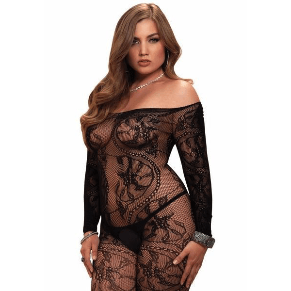 Plus Size Lace Off the Shoulder Bodystocking