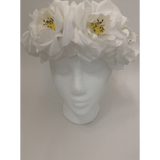 White Medium Rose Flower Headwrap