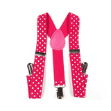 Hot Pink Suspenders with White Polka Dots