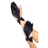 Satin Cut Out Gloves with Bow {Black}