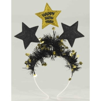 New Year Eve  Headband with stars in Black/Gold