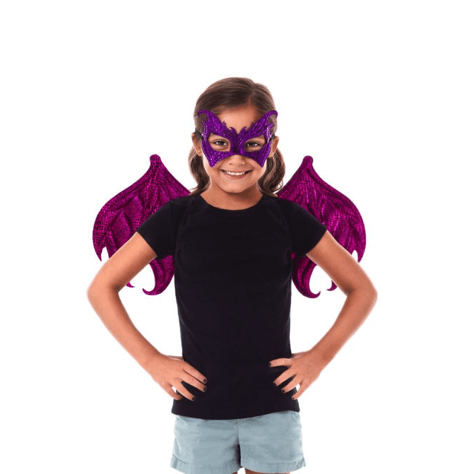 Pink and Purple Dragon Wings and Mask