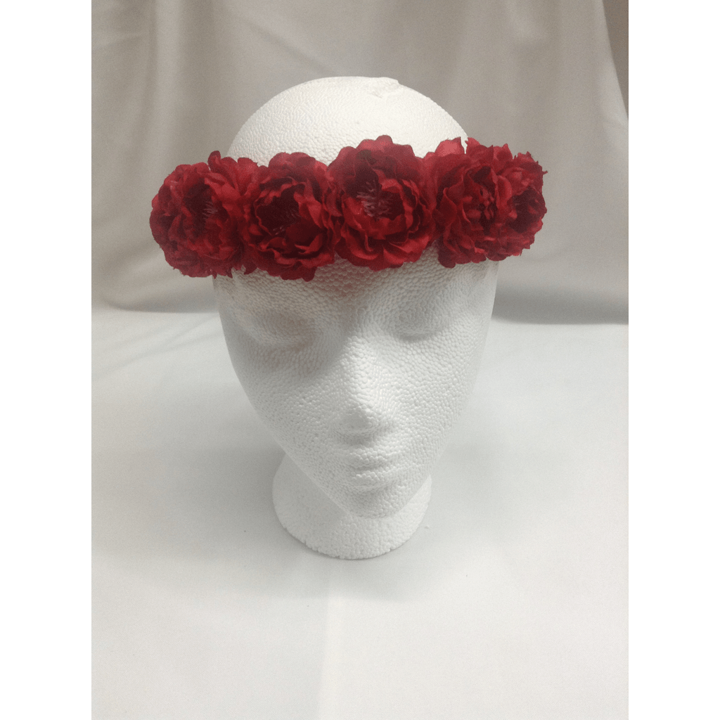 Red Small Peony Flower Headwrap