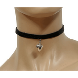 Leather Choker with Mini Metal Heart