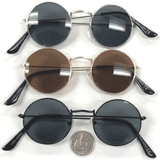 LENNON STYLE SUNGLASSES WITH DARK LENS, GOLD, SILVER, & BLACK