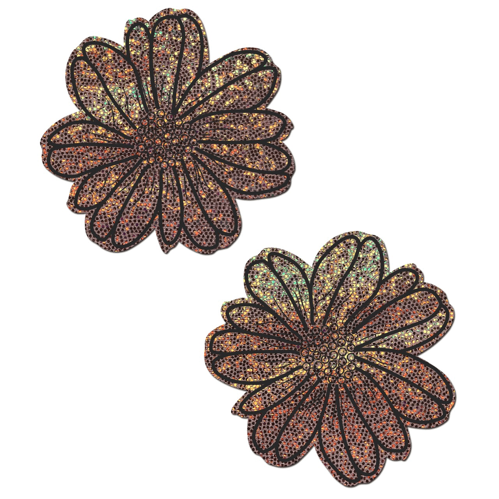 Rose Gold Glitter and Black Wildflower Pasties