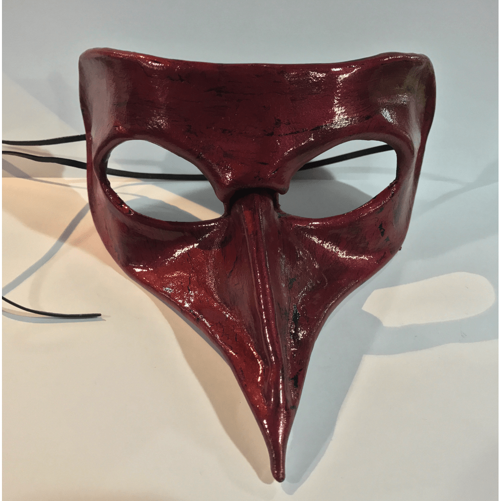 Red and Black Antique Pettuccio Leather Mask