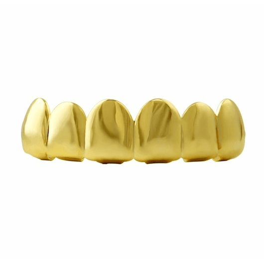 Top Shiny No Ice Gold Tone Teeth Grillz