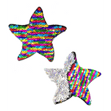 Rainbow and Silver Color Changing Sequin Starfish Pasties