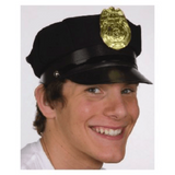 Black Cotton Police Hat with Badge