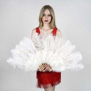 White Ostrich Fan with Marabou