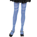 Nylon Stripe Tights O/S WHITE/BLUE