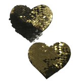 Gold and Black Color Changing Sequin Heart Pasties