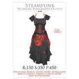 Rental- Womens Steampunk Burgundy Outfit- Large