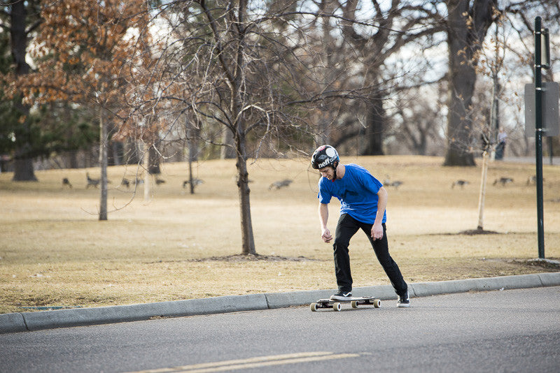 Pushing on a longboard