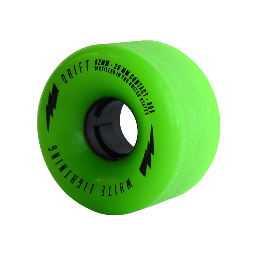 White Lightning 62mm DRIFT Green Wheel Set (80A, Centerset)