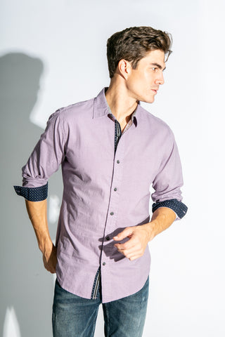 CONNECT 4- Long Sleeve Woven Button-Down Shirt with Collar