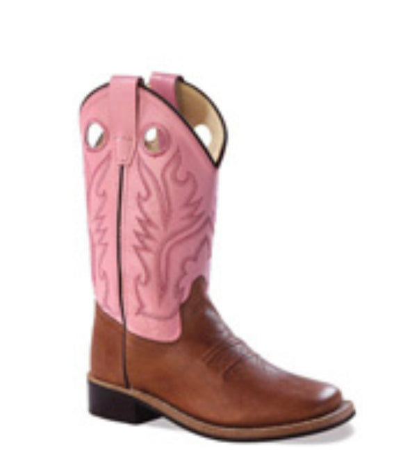 OLD WEST BSY1839 Youth Pink Broad Toe