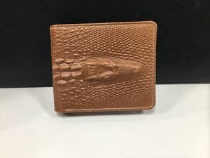 Genuine Leather Crocodile Design Men's Wallet Tan