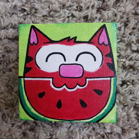 Original Watermelon Ringo  4x4 Art Canvas - Purridge & Friends - Furry Feline Creatives