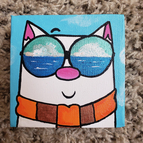 Original Purridge Sunglasses 4x4 Art Canvas - Purridge & Friends - Furry Feline Creatives