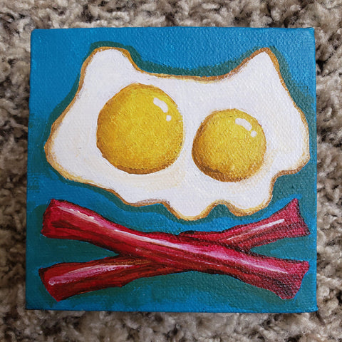 Original Bacon and Eggs 4x4 Art Canvas - Purridge & Friends - Furry Feline Creatives