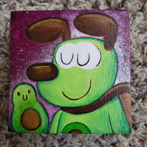 Original Avocadog 4x4 Art Canvas - Purridge & Friends - Furry Feline Creatives