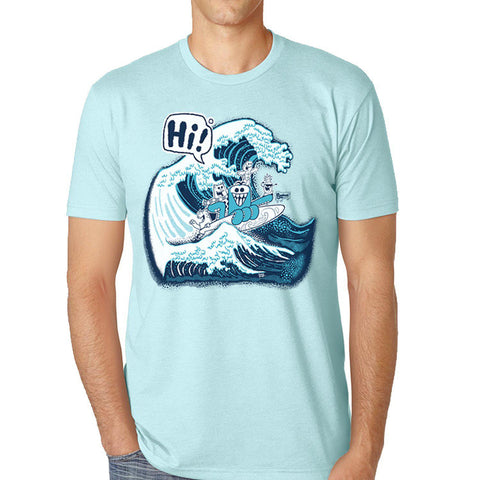 HI Wave Mens Tee - Purridge & Friends - Furry Feline Creatives