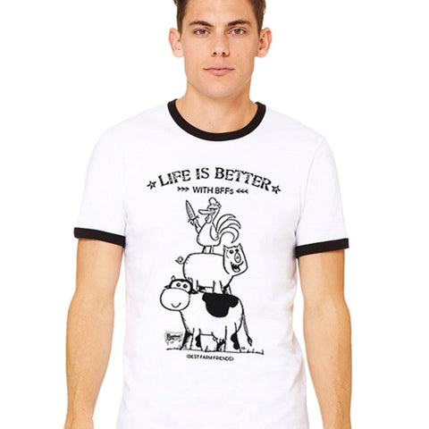 Life Is Better With BFFs Unisex Ringer Tee - Purridge & Friends - Furry Feline Creatives
