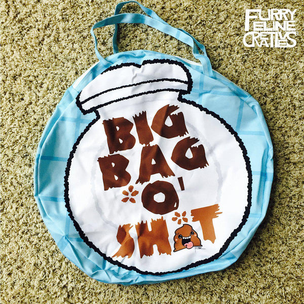 "Giant Round Zipper ""Big Bag O' Poop"" Tote - I Heart Poop Culture - Furry Feline Creatives"