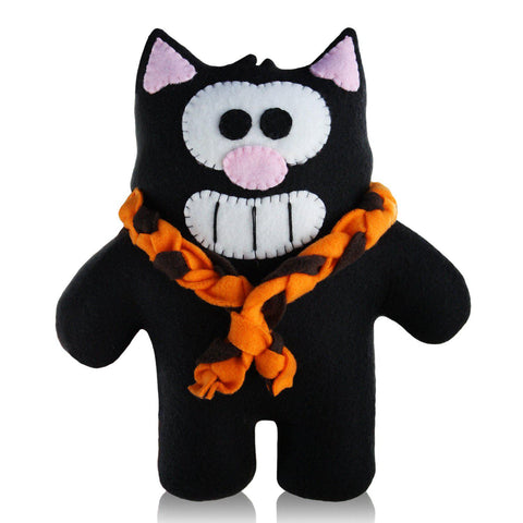 "Handmade Black Purridge Project Mooncake 12"" Plush - Purridge & Friends - Furry Feline Creatives"