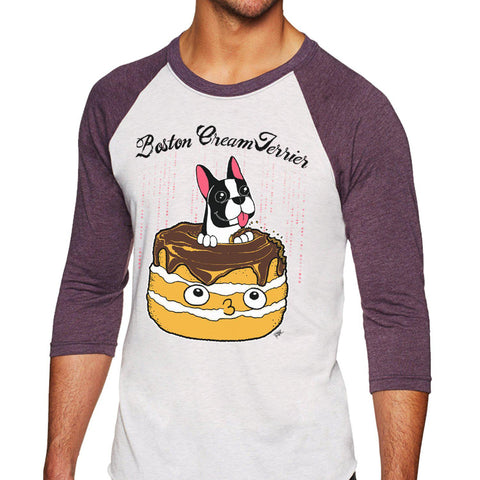 Boston Cream Terrier Unisex Raglan Tee - Purridge & Friends - Furry Feline Creatives
