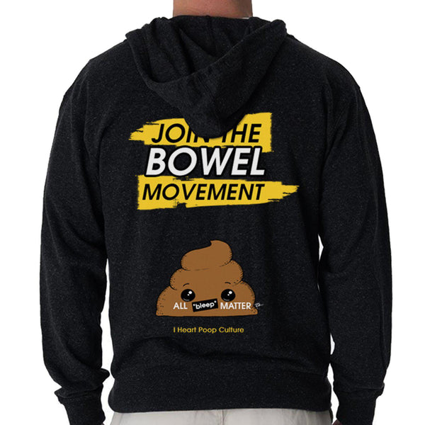 Join The Bowel Movement French Terry Unisex Black Hoodie - I Heart Poop Culture - Furry Feline Creatives