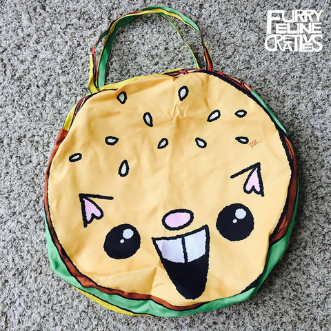 "Giant Round Zipper ""Burger Cat"" Tote - Purridge & Friends - Furry Feline Creatives"