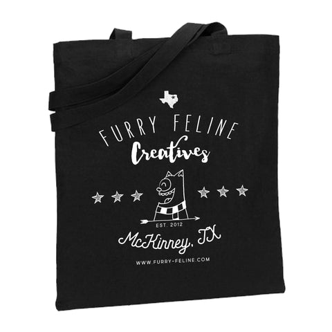 FFC Market Black Canvas Tote - Purridge & Friends - Furry Feline Creatives