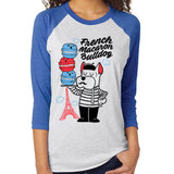 French Macaron Bulldog Unisex Raglan Tee - Purridge & Friends - Furry Feline Creatives