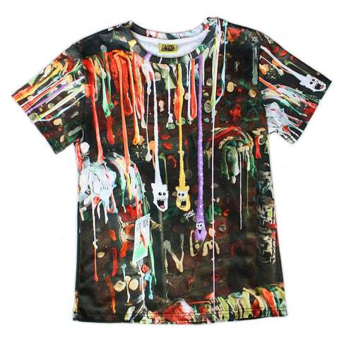 All-Over Print Gumwall Photollustration Cotton Tee - Furry Feline Creatives