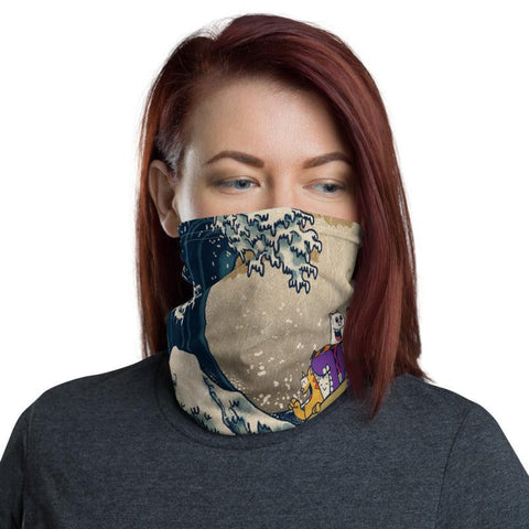 HI Wave Face Mask / Neck Gaiter - Purridge & Friends - Furry Feline Creatives