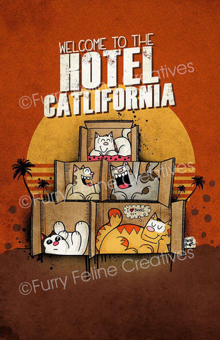 11x17 Hotel Catlifornia Print - Purridge & Friends - Furry Feline Creatives